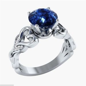 Elegant925 Silver Round Cut Blue Sapphire Ring New